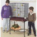 Vogelkäfig ASYA 72 bordeaux mit Ständer - 77 x 44 x 139 cm
