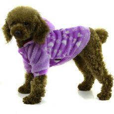 Jacke für den Hund - violett mit Kapuze, S