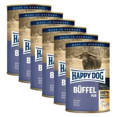 Happy Dog Pur - Büffel, 6 x 400 g, 5+1 GRATIS