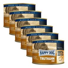 Happy Dog Pur - Truthahn, 6 x 200 g, 5+1 GRATIS