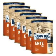 Happy Dog Pur - Ente, 6 x 400 g, 5+1 GRATIS