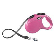 Flexi Leine New Classic M-L bis zu 50 kg, 5 m Gurt - rosa