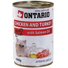 ONTARIO Dose für Katzen - Huhn, Pute und Öl - 400 g