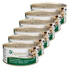 Applaws Cat - Dose für Katzen mit Thunfisch und Meeresalgen, 6 x 70g