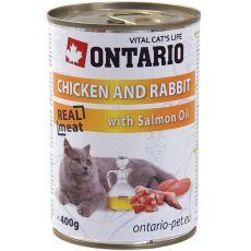 ONTARIO Dose für Katze - Huhn, Kanninchen und Öl - 400 g