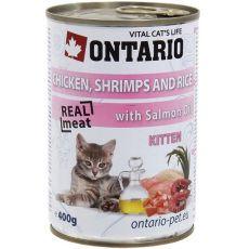 ONTARIO Kitten Dose - Huhn, Krevetten, Reis und Öl - 400 g