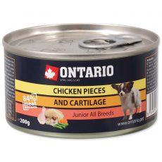 Dose ONTARIO Junior für Hund, Huhnstücke + Knorpel, 200g