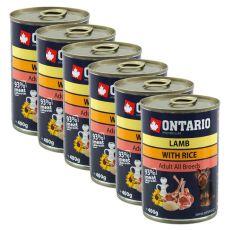 Dose ONTARIO für Hund mit Lammfleisch, Reis und Öl- 6x400g