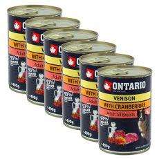 Dose ONTARIO für Hund mit Wildfleisch, Preiselbeeren und Öl - 6x400g