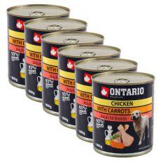 Dose ONTARIO für Hund mit Huhn, Karotte und Öl - 6x800g