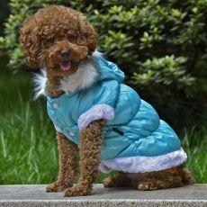 Hundejacke mit abnehmbarer Kapuze - blau, S
