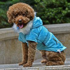 Hundejacke mit Taschen-Imitation mit Reißverschluss - blau, S