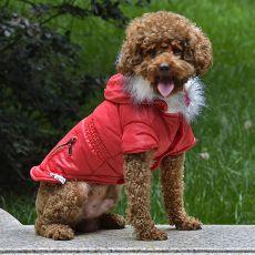 Hundejacke mit Taschen-Imitation und Reißverschluss - rot, S
