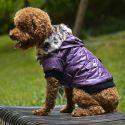 Hundejacke mit Kunstfell - violett, L