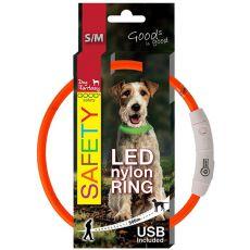 Halsband Dog Fantasy LED nylon - orange, 45cm