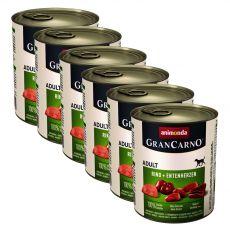 Feuchtfutter GranCarno Original Adult Rindfleisch + Entenherzen - 6 x 800 g