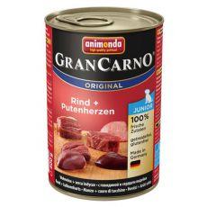 Nassfutter GranCarno Original Junior Rind + Putenherzen - 400g