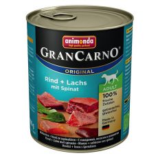 Nassfutter GranCarno Original Adult Rind + Lachs mit Spinat - 800g