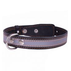 Lederhalsband reflektierend- 32 - 40cm, 20mm - schwarz