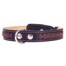 Lederhalsband - 38 - 50cm, 25mm - schwarz/braun