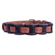 Lederhalsband - 34 - 40cm, 20mm - braun/schwarz