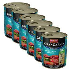 Nassfutter GranCarno Original Adult Rind + Lachs mit Spinat - 6 x 800g