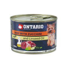 Feuchtnahrung ONTARIO Rind mit Zucchini und Leinsamenöl – 200g