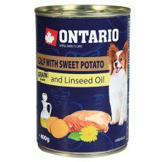 Feuchtnahrung ONTARIO Kalb mit Süßkartoffeln und Leinsamenöl – 400g