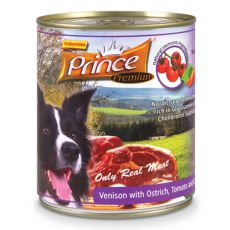 Feuchtnahrung PRINCE Premium – Wild und Strauß mit Tomaten und Karotte 800g