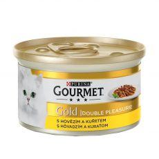 Nassfutter Gourmet GOLD - gegrilltes und geschmortes Rind und Huhn, 85g