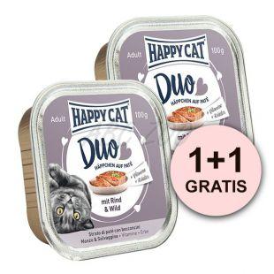 Happy Cat DUO MENU - Rind und Wild, 100g + 100g GRATIS