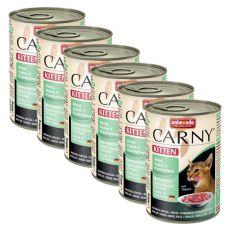 Nassfutter CARNY KITTEN Rind, Huhn und Kaninchen 6 x 400 g