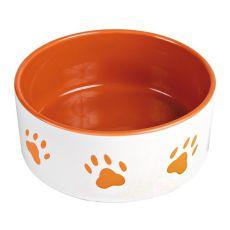 Hundenapf, keramisch - Pfoten in Orange, 0,8 l