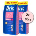 Brit Premium Junior Large 2 x 15kg + 6kg GRATIS