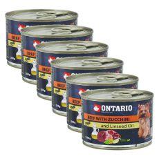 Feuchtnahrung ONTARIO Rind mit Zucchini und Leinsamenöl, 6 x 200g