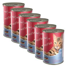 Nassfutter BEWI CAT Meatinis SALMON  – 6 x 400g, 5+1 GRATIS