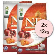 Farmina N&D dog GF PUMPKIN adult medium/maxi, chicken & pomegranate - 2 x 12kg