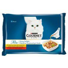 Feuchtnahrung GOURMET PERLE Gravy Delight - Rind und Huhn, 4 x 85 g