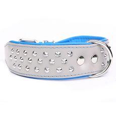 Halsband mit Nieten Neo, grau - blau 4 cm x 40 - 47 cm