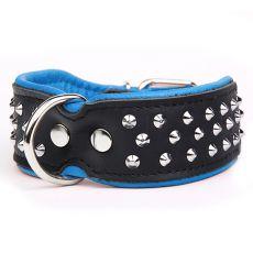 Halsband mit Nieten, schwarz - blau 5 cm x 61 - 73 cm