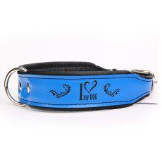 Lederhalsband I love my dog, blau - schwarz 4 cm x 34 - 42 cm