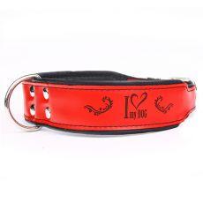 Lederhalsband I love my dog, rot - schwarz 5 cm x 52 - 61 cm
