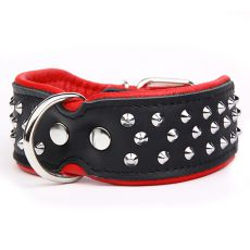 Halsband mit Nieten, schwarz - rot 4 cm x 33 - 42 cm
