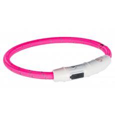 Leuchtendes LED Halsband L-XL, pink 65 cm