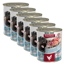 New BEWI DOG Feuchtnahrung – Geflügelherzen 6 x 800 g, 5+1 GRATIS