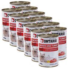 ONTARIO Dose für Katzen - Huhn, Pute und Öl - 12 x400 g