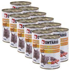 ONTARIO Dose für Katze - Huhn, Kanninchen und Öl - 12 x 400 g