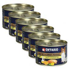 Feuchtnahrung ONTARIO Kalb mit Süßkartoffeln und Leinsamenöl – 6 x 200g