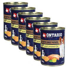 Feuchtnahrung ONTARIO Kalb mit Süßkartoffeln und Leinsamenöl – 6 x 400g