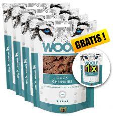 WOOLF Duck Chunkies 5 x 100g, 4+1 GRATIS